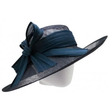Chapeau capeline de cérémonie en sisal Buntal Made in France