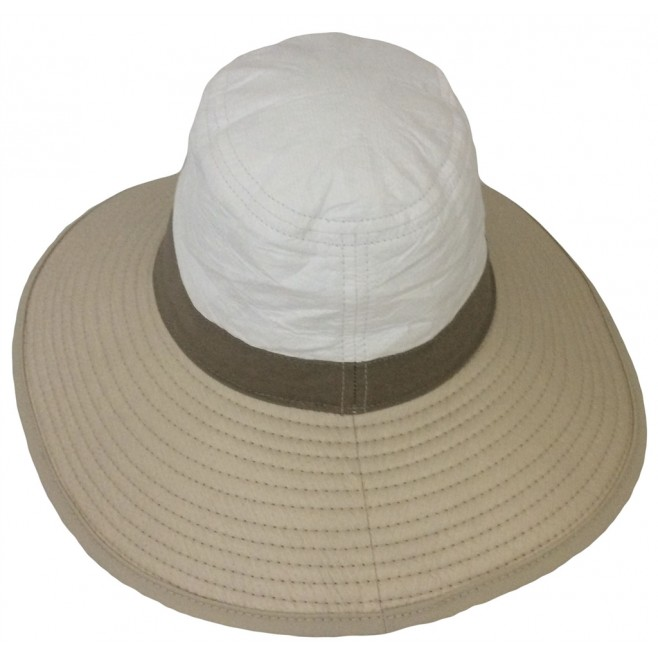 Soway chapeau mixte anti-uv grands bords balnc beige