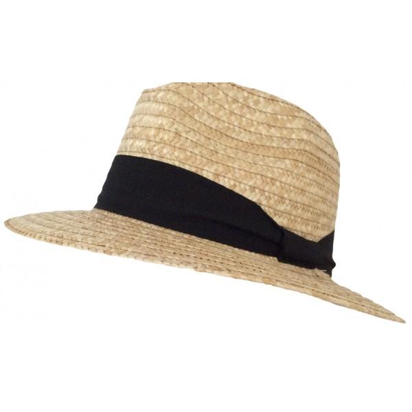 Chapeau femme en paille naturel galon noir - 20815NAT - 29,60 € - Falbalas st junien