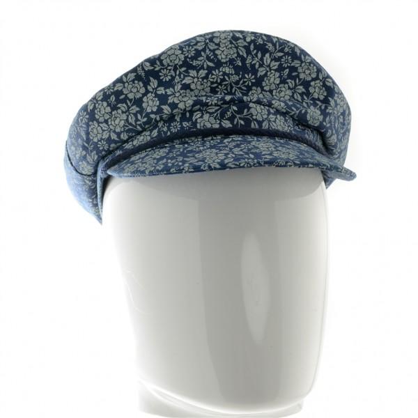 Mida casquette visière femme bleu motif fleurs marine - CASQUETTE MARINAIO - 29,80 € - Falbalas st junien