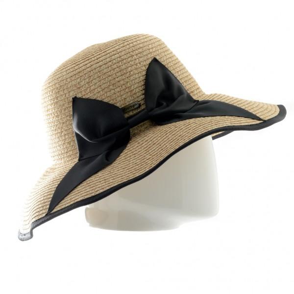 Aurega Chapeau femme en paiper naturel avec un nœud noir - E18033 - 29,90 € - Falbalas st junien