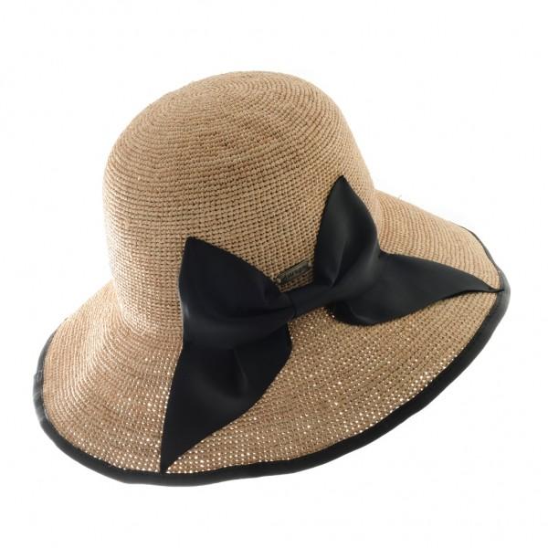 Aurega Chapeau femme raffia naturel avec un noeud noir - BRIGIDA - 69,80 € - Falbalas st junien